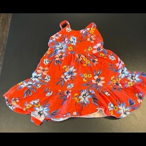 Red orange floral 12-18 month dress.